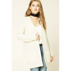 Forever21 Ribbed Knit Sweater Cardigan ($23) ❤ liked on Polyvore featuring tops, cardigans, cream, cream cardigan, long sleeve tops, forever 21 cardigan, open front cardigan and long open front cardigan