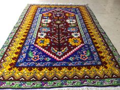 5x3,8 Feet 154X112 Cm Awesome Pattern Colorful Ethnic Tribal Carpet Rug,Turkish Nomadic Handwoven Rare Pattern Fine Condition Carpet Rug.