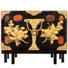 Unusual Japanese Rimpa School Gilt Copper Mounted Lacquer Hasami Bako Box | From a unique collection of antique and modern lacquer at https://www.1stdibs.com/furniture/asian-art-furniture/lacquer/