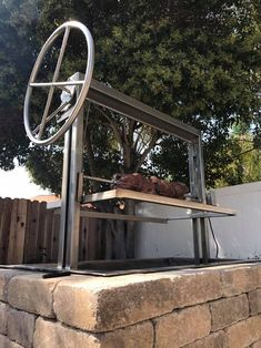 Stainless Santa Maria Countertop Drop In Frame with Height Adjustable Rotisserie by JD Fabrications Santa Maria, Outdoor Fire, Outdoor Living, Wood Charcoal, Charcoal Grill, Grill Island, Fire Pit Grill, Tube Acier, Grill Design