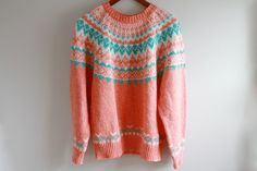 Vintage Peachy Pastel Fair Isle Pullover Sweater / Jumper