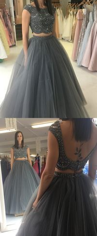 long prom dresses For Teens Christmas Gifts 2018 two piece grey long prom dress, beads party dress, ball gown, sweet 16 dress School Dance Dresses, Prom Dresses For Teens, Lehenga Designs, Quinceanera Dresses, Indian Designer Outfits, Designer Dresses, Gown Designer, Indian Gowns Dresses, Net Dresses