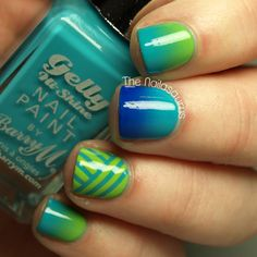 The Nailasaurus: Barry M Summer 2013 Gellys -cool summer colours. gradients + striping tape in 3 colours