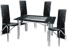 Jídelní sestava Montreal černý lesk 1+4 – FALCO Moderní jídelní souprava skládající se ze 4 židlí a skleněného jídelního stolu. Moderní skleněný stůl s chromovanými nohami:- Rozměry: 120 x 70 x 75 cm/ tl.skla 10 … Dining Sets, Dining Chairs, Montreal, Furniture, Home Decor, Dinner Sets, Decoration Home, Dining Room Furniture, Room Decor