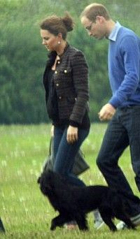 Catherine Duchess of Cambridge, aka Kate Middleton and Prince William with Lupo on 6/25/2013