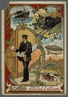 [Felicitaciones de Navidad de oficios.. EL CARTERO Grabado — 1900-1950