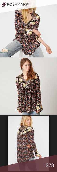 "FREE PEOPLE Printed Tunic NWT! This billowy babydoll tunic from Free People masters the art of mixing prints with an eye-catching array of wildflower motifs.  *Fits true to size *Designed for a loose fit *Round neck, long sleeves, flared cuffs *Partial front button placket, shirring at front and back yoke *Allover floral print, rounded hem *31 1/2"" length  ❌NO TRADES  I❤️Bundles ❤️REASONABLE OFFERS ONLY PLEASE❤️ Free People Tops Tunics"
