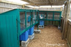 Raised hutch w/ bins to catch the droppings. Easy cleanup!