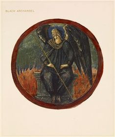 The Flower Book - Black Archangel By Sir Edward Burne-Jones 1905 Circular image. A black angel holding a staff, seated on a throne, with flames behind him.