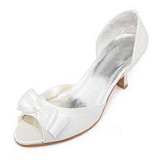 Frauen Satiniert Spule Absatz Peep Toe Sandalen mit Flakem (047005526)
