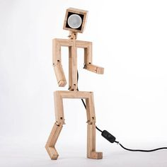 JAFFU // Wooden articulated design lamp in the form of a personage, recycled oak wood, LED color and remote control, by Lune et Animo Ikea Desk Lamp, Wooden Desk Lamp, Wood Lamps, Led Color, Wooden Man, Led Spots, Small Wood Projects, Spot Led, Color Changing Led