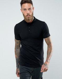 ASOS Extreme Muscle Polo Shirt In Black - Black Burton Menswear 0b89cceccd8c7
