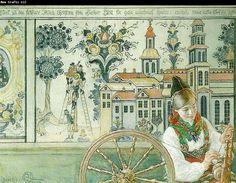 Carl Larsson bingsjointerior-spinnande flicka 1917*