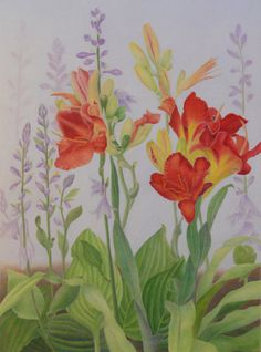 """Uncommon Friendships"" by Mary K Hyatt Colored Pencil ~ 22 x 16  I came across these plants growing next to an old house in Yorkville, IL. I really liked the contrast between the purple Hostas and the red Lilies."