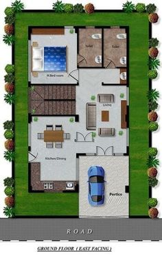 A Duplex house plan is for a single-family home that is built in two floors having one kitchen and dining. The duplex house plan gives a villa look and feel in small area. 2bhk House Plan, 3d House Plans, Indian House Plans, Model House Plan, House Layout Plans, Bungalow House Plans, Best House Plans, Bungalow Ideas, Bungalow House Design