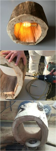 Awesome How to Make a Spectacular Stump Floor Lamp with a piece of tree trunk. Choose a hardwood, such as oak or beech. The tree trunk must have a diameter of 30cm and a flat side.   Simple and nice tutorial!