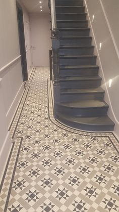 We provide free quoations based on your floor measurements & picked tile design. Just send us your chosen tile design code (e. and floor dimensions. Victorian Hallway Tiles, Tiled Hallway, Hall Tiles, Hall Flooring, Flooring For Stairs, Staircase Remodel, Staircase Makeover, Art Deco Curtains, Entrance Hall Decor