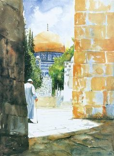 the walking in dream ,by Salam Kanaan, Watercolor Landscape, Watercolor Art, Old City Jerusalem, Terra Santa, Arte Judaica, Palestine Art, Mosque Architecture, Dome Of The Rock, Islamic Paintings