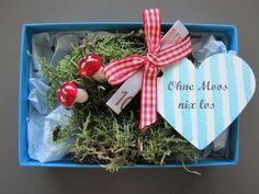 """""""Ohne Moos nix los"""" wer kennt das nicht, aber auf die Verpackung kommt es an! Das ideale Geldgeschenk für viele Anlässe! Jetzt auch als Weihnachtsbox erhältlich!  Einfach den zusammengefalteten..."""