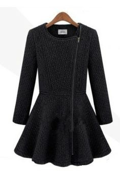 Round Neck inclined zip Details Wool Coat [FEBK0098] - PersunMall.com