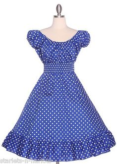 BLUE WHITE PIN UP VTG 1950S POLKA DOT RETRO SUNDRESS DRESS PLUS 1X 2X 3X | eBay