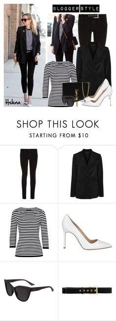 """""""Blogger Style: Brooklyn Blonde"""" by helenevlacho ❤ liked on Polyvore featuring rag & bone, Theory, Betty Barclay, Yves Saint Laurent, Manolo Blahnik, Quay and H&M"""