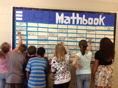 Mathbook Bulletin Board and other great ideas for Grade 5 Math and others  Add Velcro to the back of laminated strips and you don't have to deal with the crowds.