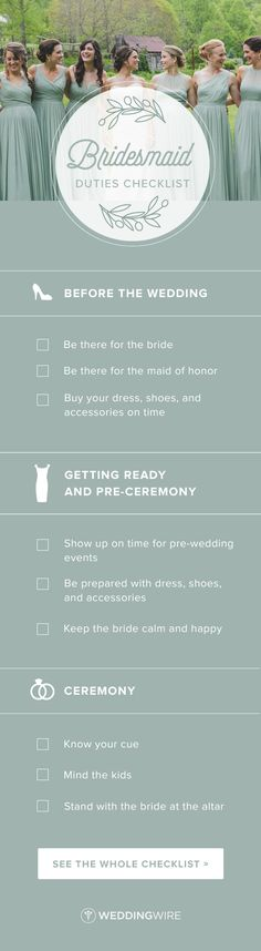 Bridesmaid Duties Checklist - Have you recently been asked to be a bridesmaid? Congrats! Check out a complete list of your bridesmaid duties on @weddingwire! {Meghan Rolfe Photography}