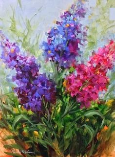 Purple Pirouette Larkspur by Floral Artist Nancy Medina, painting by artist Nancy Medina