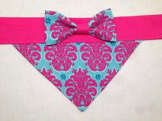 Hey, I found this really awesome Etsy listing at https://www.etsy.com/listing/185921551/dog-bandana-pink-and-teal-damask-with