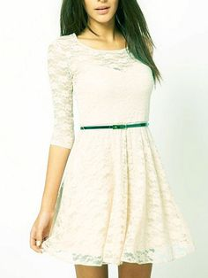 Bodycorn Lace Dress With Belted Waist | Choies