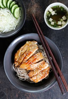 FREE RANGE CHICKEN TERIYAKI BENTO WITH SOBA NOODLES. This dish has got to be one of the most popular Japanese dishes ever. It will surprise you how simple and quick it is to make. Made with a our own hand mixed teriyaki sauce, free range chicken, organic soba noodles, miso soup and a delicate Japanese garnish salad. 30 Minutes. Subarashii! (Japanese for wonderful)