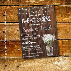 Gender Reveal BBQ invitation couoples shower invite BaByQ shower party mason jar wood country chic digital printable invitation 14179 by myooakboutique on Etsy