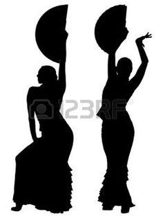 Dos siluetas negras de mujer bailarina de flamenco photo