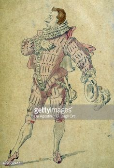 Stock Illustration : Leandro, Commedia dell'arte character, drawing by Maurice Sand (1823-1889)