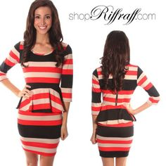 ONLINE EXCLUSIVE! Darling Wishy Poshy Striped Peplum dress, this flattering fit dress is perfect for work or play. Back zipper closure. Caroline is wearing a size small and is 5'7″. Made of 100% polyester.  #boutique #boutiqueclothing #clothingboutique #womensboutique
