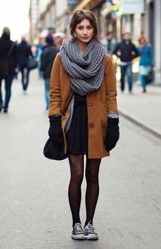 camel-coat-cardigan-and-black-dress via