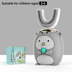 Smart 360 Degress U Sonic Kids Electric Silicone Automatic Ultrasonic – dailyfashionlove Ultrasonic Toothbrush, Kids Electric Toothbrush, Acoustic Wave, Magnetic Levitation, Deep Cleaning, Cartoon Styles, Light Blue, Usb, 3 Kids
