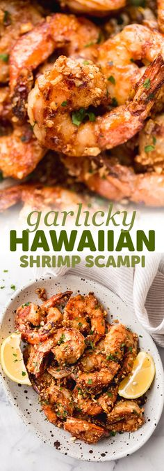 The yummiest, garlicky Hawaiian Shrimp Scampi! These take no time to make at all and would be delicious served with a traditional Hawaiian macaroni salad or even just good old rice! Garlic shrimp scampi is sure to become a family favorite! Hawaiian Garlic Shrimp, Garlic Shrimp Scampi, Baked Shrimp Scampi, Hawaiian Shrimp Recipe, Shrimp Appetizers, Shrimp Dishes, Fish Recipes, Seafood Recipes, Cooking Recipes
