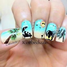 The Beach Nail Art Manicure Nail Art Designs, Beach Nail Designs, Beach Design, Tree Designs, Design Art, Cute Nail Art, Cute Nails, Pretty Nails, Beach Nail Art