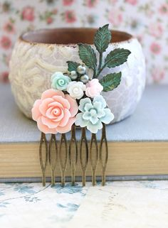 Pink Rose Comb Flower Wedding Comb Bridal Hair by apocketofposies