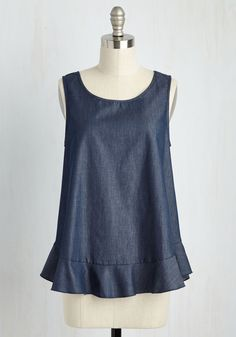 Climb the Social Flatter Top. While street style isnt a popularity contest, you sure do fascinate with this dark chambray tank top! #blue #modcloth