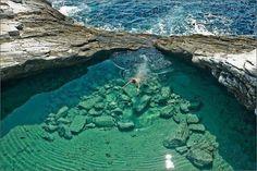 Incredibly beautiful natural pool in Thassos, Giola lagoon, Greece