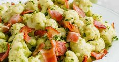 This Creamy Avocado Cauliflower Salad is a great choice if you are avoiding carbs since it's made with cauliflower instead of potato and also the dressing is a great healthy alternative to creamy dairy sauces or even mayo-base dressings. Gluten Free Recipes For Breakfast, Best Gluten Free Recipes, Whole30 Recipes, Quick Recipes, Low Carb Recipes, Quick Healthy Meals, Healthy Salad Recipes, Nutritious Meals, Healthy Eating