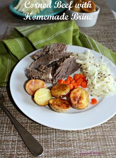 homemade Corned beef with homemade brine for st patrick's day simpleandsavory.com