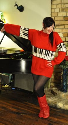Piano keyboard red jumper sweater. #fashion #style #music #sweater #piano #musicfashion #clothes http://www.pinterest.com/TheHitman14/hey-ladies-musical-fashion/