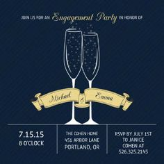 More than an engagement party invitation, this is an announcement of joy and love! Friends and family will love the champagne glass design on the front.