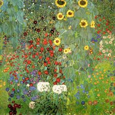 Farm Garden with Sunflowers by Gustav Klimt Gustav Klimt, Art Klimt, Edith Holden, Art Nouveau, Oil Painting On Canvas, Canvas Art, Oil Painting Reproductions, Farm Gardens, Art Oil
