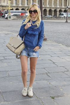 Blue Print Sweater and Ripped Denim Shorts from zorannah.com