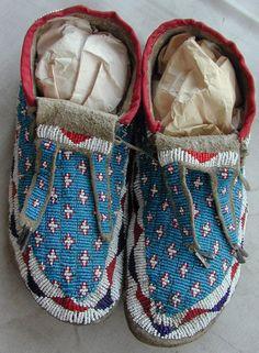 Pair Of Old Original Cheyenne Beaded Moccasins Circa 1890's Very Rare